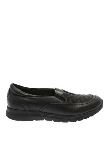 Penford Penford Düz KauÇuk Topuk İşlemeli GerÇek Deri Kadın Ayakkabı Siyah